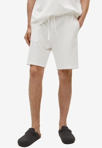 MANGO Man white Cotton Pyjama Shorts BE317AA72BD781GS_1