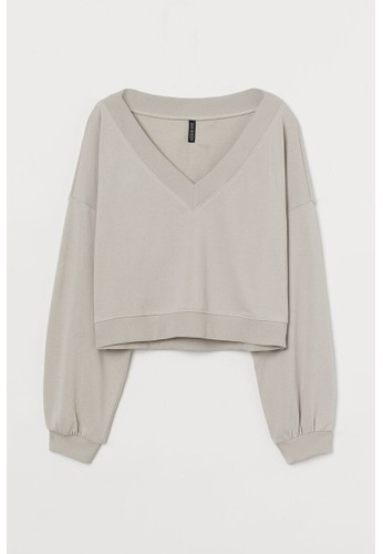 H&M beige V-neck sweatshirt A69FEAAD4B1288GS_1