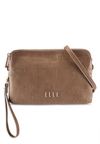 ELLE brown and beige Emboss Double Sling Bag EL900AC0RON1MY_1