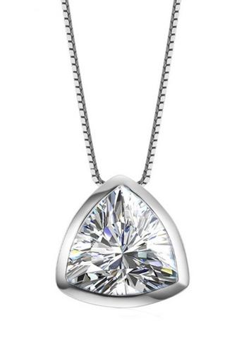 LYCKA silver LFF1233-LYCKA-S925 Silver White Zircon Trendy Necklace -Silver LY529AC0HACHSG_1