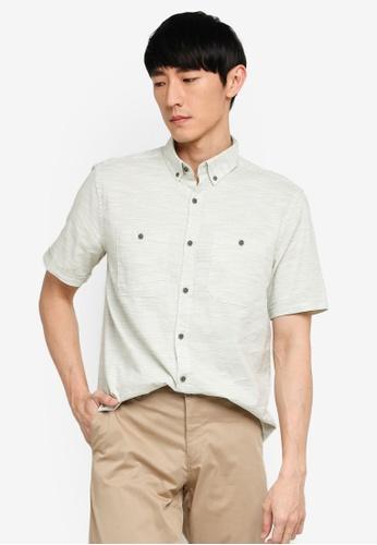 LC Waikiki green Regular Fit Short Sleeve Textured Shirt 45436AA5F89638GS_1