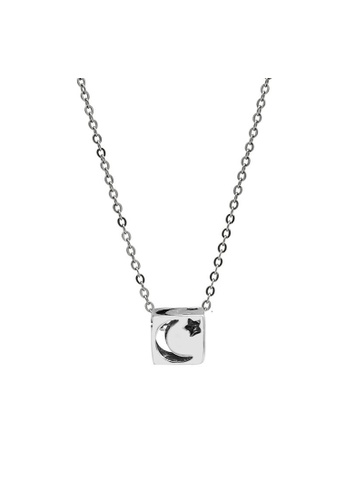 LYCKA silver LDR1249 S925 Silver Crescent Moon and Stars Necklace 4569EACA2D323BGS_1