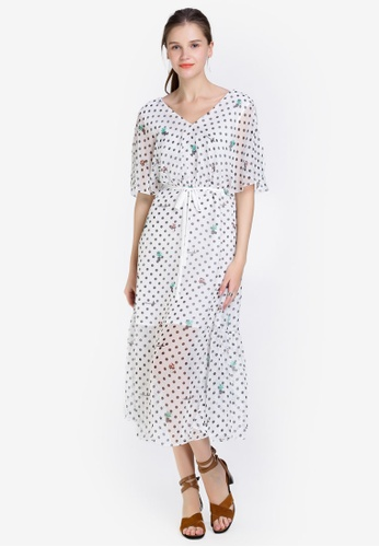 Hopeshow white Spotted V-Neck Dress with Tie Belt F2468AAE74708BGS_1