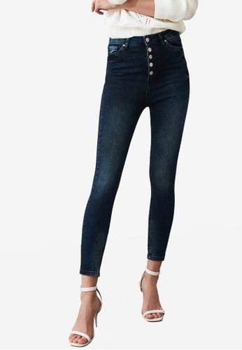 Trendyol blue Button Down High Waist Skinny Jeans 41068AAF9F1283GS_1