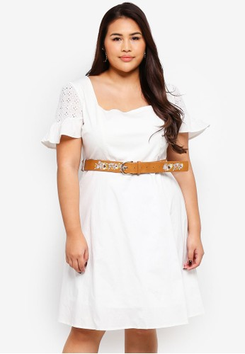 LOST INK PLUS white Skater Dress With Broderie Sleeves 562ABAAC7395CAGS_1