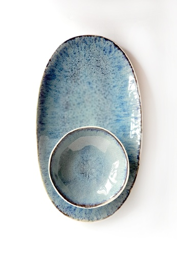 Your Lagom blue Sea Anemone Serving Platter & Sauce Dish 02681HLCEF32B2GS_1