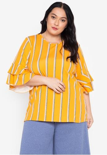 Get Laud Plus yellow Sara Plus Size Top 391FDAAB924E0BGS_1