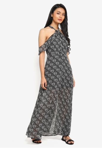 Preen & Proper black Halter Maxi Dress With Front Slit 38587AA5A68EDAGS_1