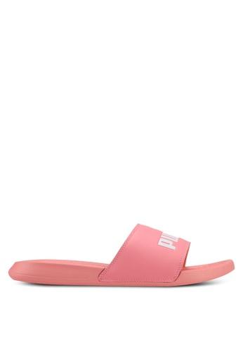 PUMA white and pink Popcat Sliders PU549SH0SWDPMY_1