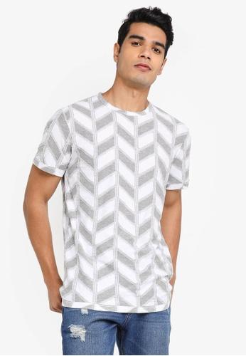 Desigual grey Herringbone Jacquard T-shirt 552EEAA2DC6E80GS_1