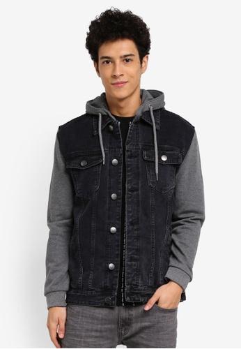 Factorie black The Fleece Denim Jacket B1605AA6C18B1EGS_1
