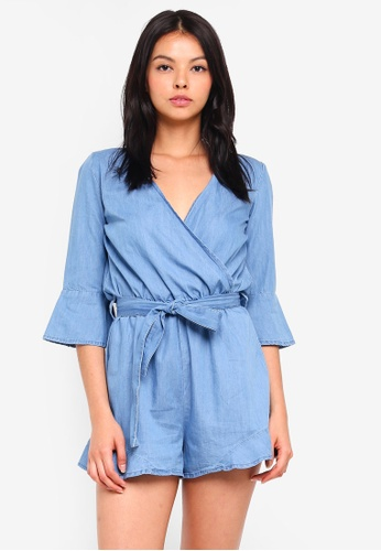 Miss Selfridge blue Frill Sleeve Tie Waist Playsuit 20CD1AA7F5F5D5GS_1