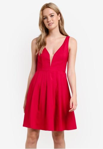 Preen & Proper red Plunge Neck Skater Dress PR614AA36YRBMY_1