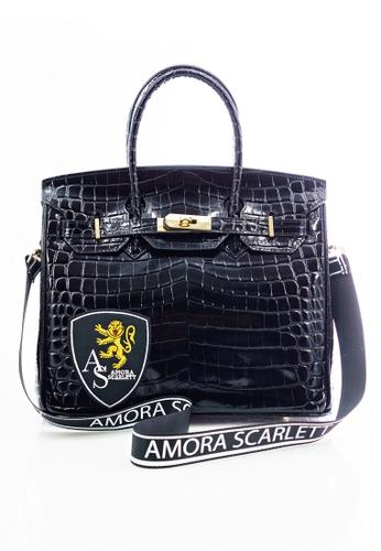 Amora Scarlett black Janey Black Croc Skin 35' ( Large ) With Strap AM058AC0SY12MY_1