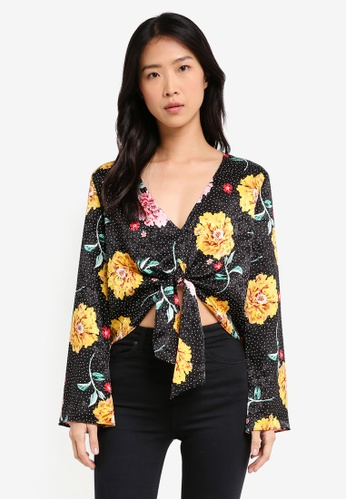 b8a266c14472 Buy TOPSHOP Floral Spotted Jacquard Top Online on ZALORA Singapore