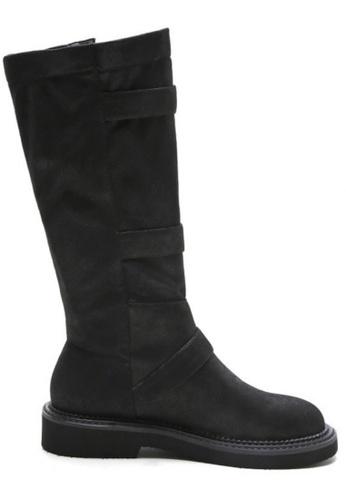 Sunnydaysweety 黑色 限量秒殺品 - 新款黑色真皮高筒平底靴 RA092713 SU395SH0908ZTW_1