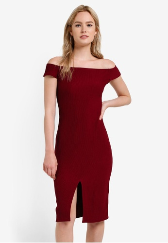 Something Borrowed red Slit Off Shoulder Bodycon Dress 0FC95AAB7C2480GS_1