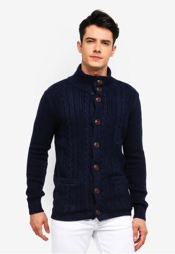 MANGO Man 藍色 鈕釦針織編織罩衫 CCD3AAA3C10DDAGS_1