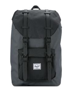 642e8ec52944 Herschel black and grey Little America Mid-Volume Backpack HE114AC0RFD7MY 1