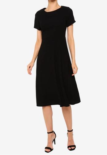 ZALORA WORK black Short Sleeve Midi Dress 2D3D8AA1869A53GS_1