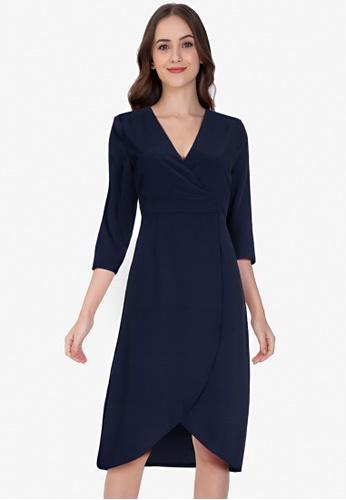 ZALORA WORK 海軍藍色 Wrap Front Tulip Skirt Dress 5BDB9AA9512668GS_1