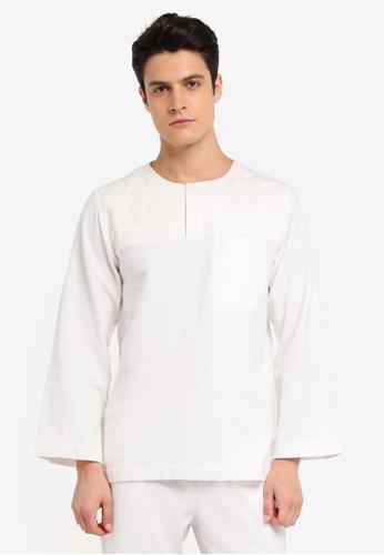 Zalia Homme white Contrast Yoke Top 249FAAA75D8462GS_1