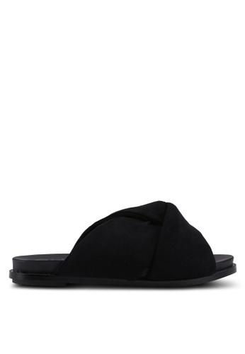 River Island black Fabric Knot Sliders 38287SHE3378D8GS_1
