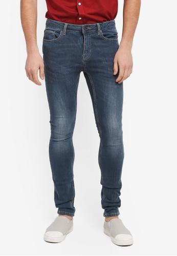 Topman blue Mid Wash Spray On Jeans 18EC3AA4C65C3FGS_1
