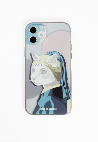 House of Avenues pink Cat with a Pearl Earring Acrylic Soft Shell Phone Case For iPhone 12 Pro 7D21AAC8BADA22GS_1