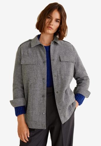 Mango grey Wool-Blend Overshirt 344DAAA1B4BA76GS_1