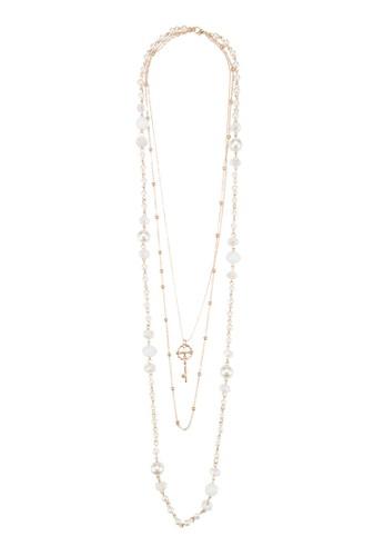 層次串珠鑰匙吊墜項鍊, 飾品配件,esprit分店 飾品配件