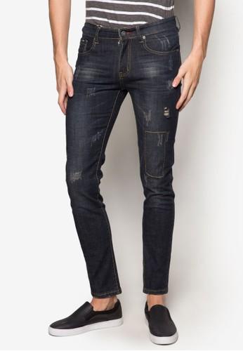 窄管刷破牛仔褲, 服esprit 西裝飾, 直筒牛仔褲