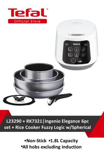 TEFAL Tefal Ingenio Elegance 6pc set + Tefal Rice Cooker Fuzzy Logic w/Spherical E384DHLE0B37BAGS_1