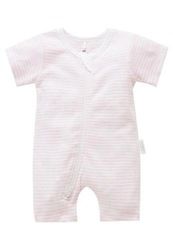 Purebaby pink Short Leg Zip Growsuit 626EAKA6D82DECGS_1