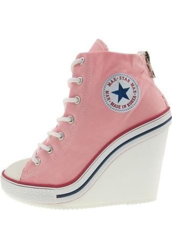 Maxstar 粉紅色 新款韩国鞋777-BZ時尚帆布布混合女粉紅色 US Women Size MA345SH19GWITW_1
