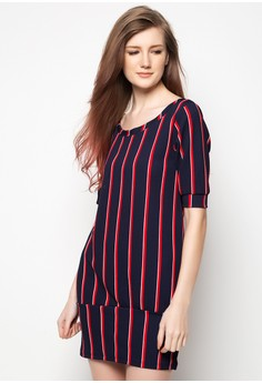 Striped Boat Neck Dress
