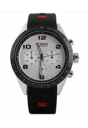 curren white and silver Curren 8167 Men's Sporty Rubber Strap Watch (Silver White) CU537AC20SZBMY_1
