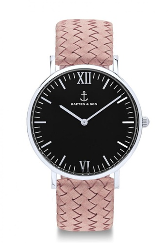 """Kapten & Son pink Campus Silver """"Black Rose Woven Leather"""" 41CECAC5B23B18GS_1"""