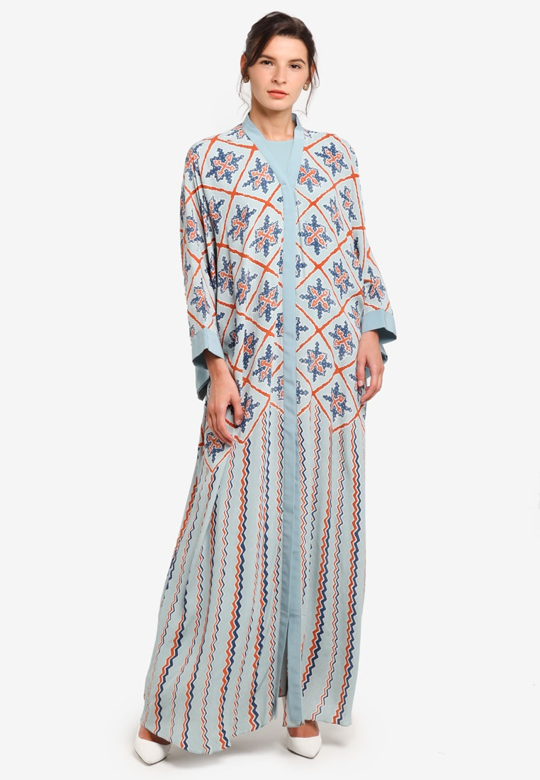Blue ZALORA Blue Terracota for Light Abaya Naira Khanaan FO0Ox8