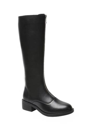 Twenty Eight Shoes black Faux Leather Zipper Riding Boots 521 324B0SH2CCD13CGS_1