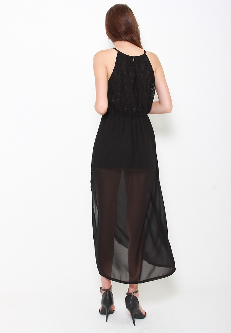 Sophialuv Black In Miss Maxi Lace Slit Or Black Dress xS866w