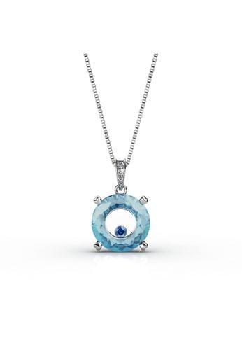 Her Jewellery blue and silver Swarovski® Zirconia - Twilight Pendant (Blue)(18K White Gold Plated) Her Jewellery HE581AC0RACQMY_1