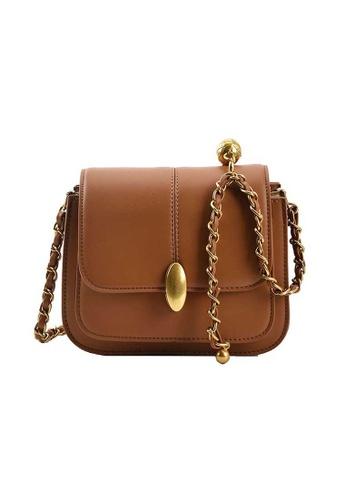 Lara brown Women's Leather Flap Zipper Chain Cross-body Square Bag - Light Brown C001FAC3675F74GS_1