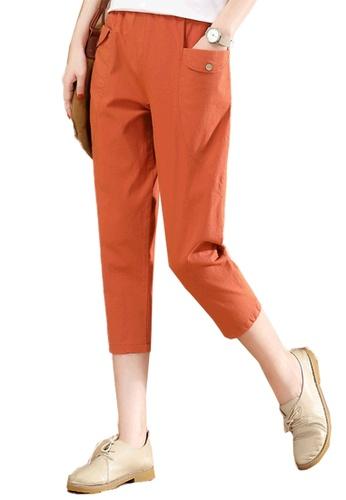 A-IN GIRLS orange Elastic Waist Slacks 6B777AAFE61642GS_1