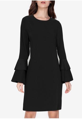 ZALORA WORK black Layered Flounce Sleeves Dress 024B3AA3B19555GS_1