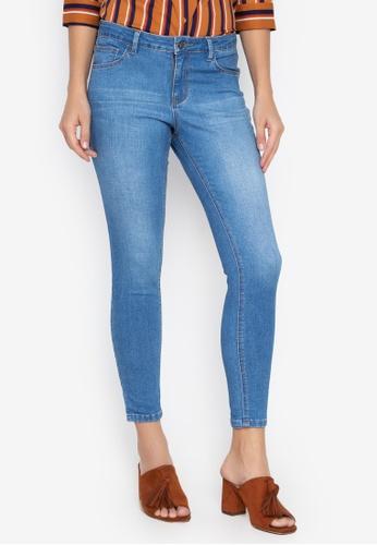 MEMO blue Mid Waist Slim Straight Light-Washed Jeans 0B93CAAB3531FDGS_1