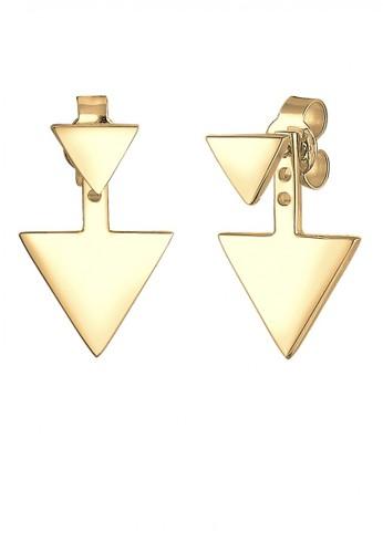Elli Germany gold Perhiasan Wanita Perak Asli - Silver Anting Ear Jacket Triangle Gold Plated EL948AC93QCOID_1