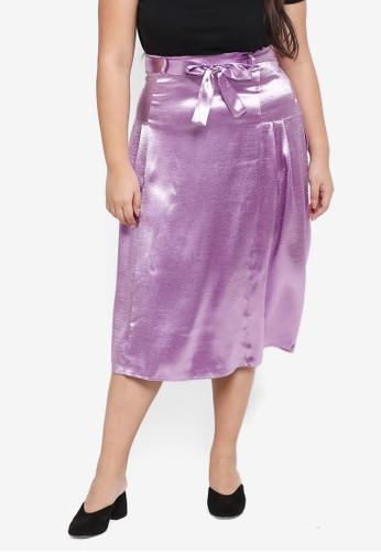 ELVI purple Plus Size Proton Midi Skirt With Pleat Panels FF6E6AA947769AGS_1