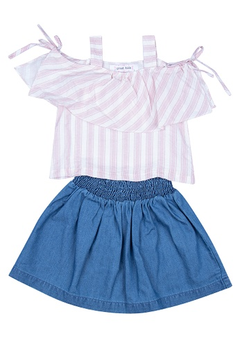 Great Kids pink Set Of Off-Shoulder Frill Striped Top In Garterized Skirt 22A3DKAAFA4B18GS_1