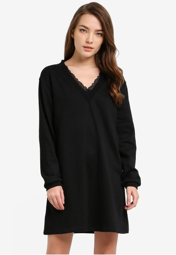 Something Borrowed black Lace Trim Sweater Dress 74603AAA97982BGS_1